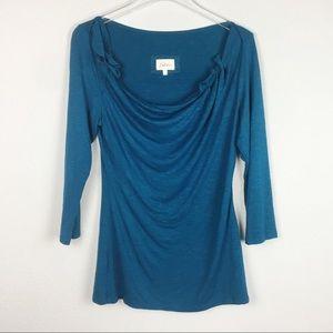 Deletta   blue scoop neck blouse   Small